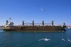 Vista del Bosphorus e le navi e le chiatte che navigano con  Vista di Costantinopoli con il Bosphorus immagine stock libera da diritti