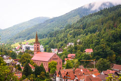 Vista del bosque negro del schiltach, Alemania Fotos de archivo libres de regalías