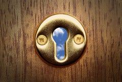 Vista del buco della serratura Fotografia Stock Libera da Diritti