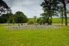 Vista del círculo de la piedra de Templewood, cañada de Kilmartin, Escocia fotos de archivo