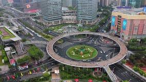 Vista del círculo de tráfico de Lujiazui, Shangai, China almacen de metraje de vídeo