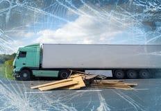 Vista del camión en un accidente Foto de archivo libre de regalías
