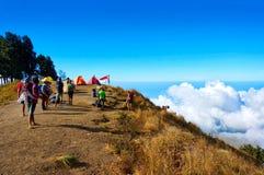 Vista del campeggio del sembalun di Pelawangan Fotografia Stock