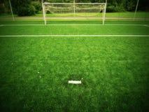 Vista del campo da giuoco di calcio del campo di erba Fotografia Stock Libera da Diritti