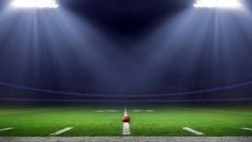 Vista del campo di angolo basso dello stadio di football americano immagini stock libere da diritti