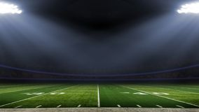 Vista del campo di angolo basso dello stadio di football americano immagini stock