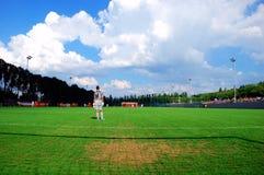 Vista del campo di football americano dall'obiettivo Fotografia Stock