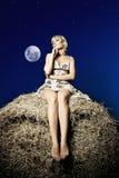 Vista del campo di luce della luna Fotografie Stock