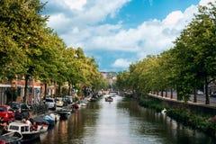 Vista del canale a Amsterdam Fotografie Stock