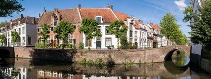Vista del canale della città di Amersfoort, Paesi Bassi Fotografia Stock Libera da Diritti