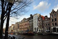 Vista del canale di Amsterdam Fotografia Stock Libera da Diritti