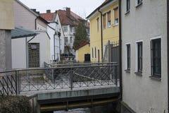 Vista del canale di Bamberga fotografia stock libera da diritti