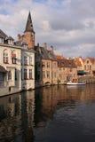 Vista del canale di Bruges Immagini Stock
