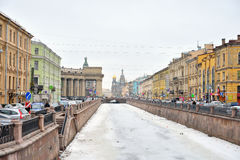 Vista del canale di Griboyedov a St Petersburg Fotografie Stock