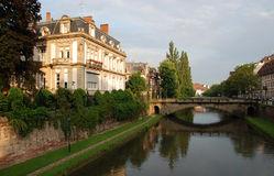 Vista del canale a Strasburgo Fotografie Stock