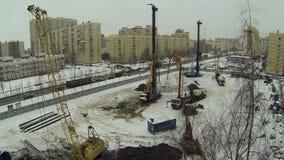Vista del cantiere da sopra video d archivio