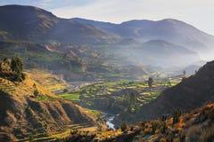 Vista del canyon di Colca con la nebbia di mattina nel Perù Fotografia Stock Libera da Diritti