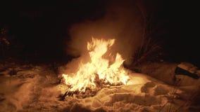 Vista del capmfire fiammeggiare che brucia fra la neve alla notte in foresta 4K archivi video