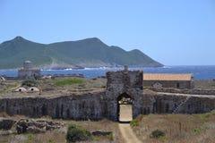 Vista del castello, castello di Methoni Immagini Stock