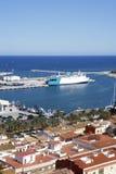 Vista del castello della porta del villaggio di Denia Alicante spagna alta Fotografia Stock Libera da Diritti
