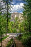 Vista del castello di Brunico Fotografie Stock