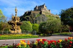 Vista del castello di Edimburgo Immagini Stock