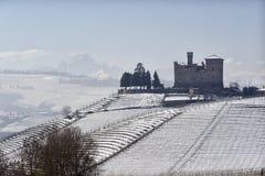 Vista del castello di Grinzane Cavour nell'inverno con neve fotografia stock