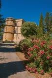 Vista del castello di Lourmarin con il cespuglio del fiore nella priorità alta, vicino a Lourmarin Immagini Stock