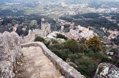 Vista del castello di moresco in Sintra Fotografia Stock Libera da Diritti