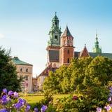 Vista del castello e della cattedrale di Wawel con il giardino, Cracovia, Polonia Immagini Stock Libere da Diritti