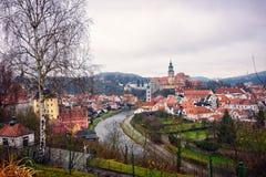 Vista del castillo de Cesky Krumlov Imagen de archivo libre de regalías