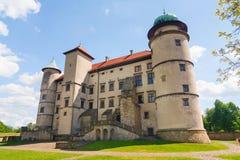 Vista del castillo de Nowy Wisnicz Fotos de archivo libres de regalías