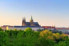 Vista del castillo de Praga Visión desde los jardines verdes del castillo de Praga Imagen de archivo
