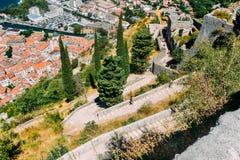Vista del castillo de St John en Kotor Fotos de archivo libres de regalías
