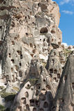 Vista del castillo de Uchisar en Cappadocia Fotos de archivo