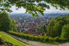 Vista del centro de ciudad de Ljubljana, Eslovenia Imágenes de archivo libres de regalías