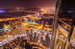Vista del centro del Dubai di notte, il Dubai, Emirati Arabi Uniti Fotografia Stock Libera da Diritti
