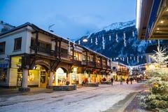Vista del centro della città, Chamonix-Mont-Blanc, Francia Immagine Stock
