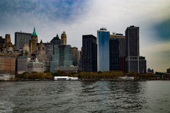 Vista del centro di Gudson di vista del cielo di Manhattan Fotografia Stock Libera da Diritti