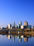 Vista del centro di verticale di Minneapolis Fotografie Stock Libere da Diritti