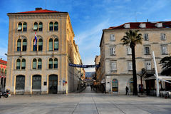 Vista del centro storico della città di spaccatura, Croazia Fotografie Stock