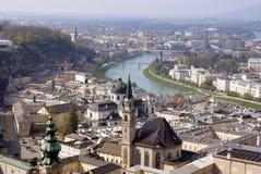 Vista del centro storico di Salisburgo, Austria Fotografie Stock