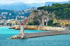 Vista del centro turístico mediterráneo, Niza, Francia foto de archivo