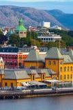 Vista del centro urbano di Stavanger, Norvegia fotografia stock libera da diritti