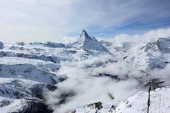 Vista del Cervino dalla stazione della sommità di Rothorn Alpi svizzere, Valais, Svizzera Immagini Stock Libere da Diritti