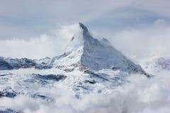 Vista del Cervino dalla stazione della sommità di Rothorn Alpi svizzere, Valais, Svizzera Fotografia Stock