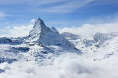 Vista del Cervino dalla stazione della sommità di Rothorn Alpi svizzere, Valais, Svizzera Fotografia Stock Libera da Diritti