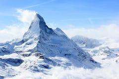 Vista del Cervino dalla stazione della sommità di Rothorn Alpi svizzere, Valais, Svizzera Fotografie Stock Libere da Diritti