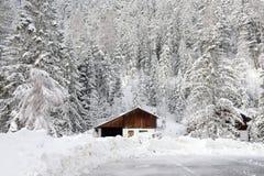 Vista del chalet di legno rustico tradizionale della montagna immagini stock