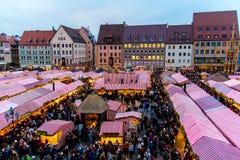 Vista del Christkindlesmarkt, Norimberga immagini stock
